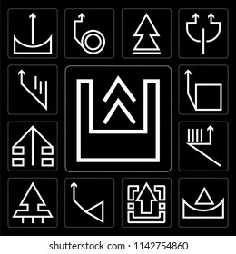 Set Of 13 simple editable icons such as Up arrow, web ui icon pack