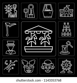 Set Of 13 simple editable icons such as Carousel, Ferris wheel, Clown, Fireworks, Whack a mole, Magician, Bottles, Flag, web ui icon pack