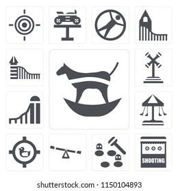 Set Of 13 simple editable icons such as Ride, Shooting, Whack a mole, Childhood, Shoot duck, Swing, Slide, web ui icon pack