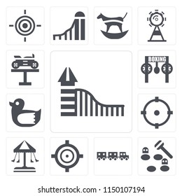 Set Of 13 simple editable icons such as Slide, Whack a mole, Sports ball, Target, Swing, Childhood, Duck, Bike, web ui icon pack