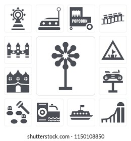 Set Of 13 simple editable icons such as Childhood, Slide, Tea cup, Climb, Whack a mole, Bike, Haunted house, Amusement park, Ride, web ui icon pack