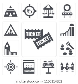 Set Of 13 simple editable icons such as Tickets, Ride, Bike, Ice cream, Target, Whack a mole, Roller coaster, Slide, Amusement park, web ui icon pack