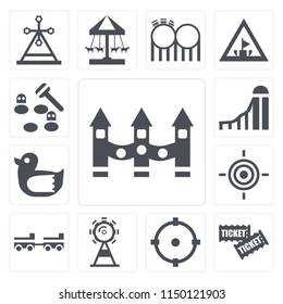 Set Of 13 simple editable icons such as Ride, Tickets, Childhood, Ferris wheel, Amusement park, Target, Duck, Slide, Whack a mole, web ui icon pack