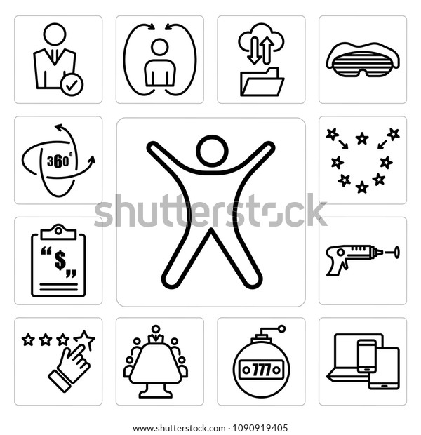 Set 13 Simple Editable Icons Such Stock Vector (Royalty Free