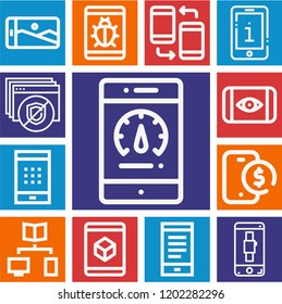 Set of 13 smartphone outline icons such as cube, smartphone, bug, password, payment method, ocular unlocking
