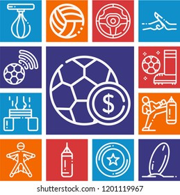 Set of 13 sports outline icons such as football, volleyball, steering wheel, soccer ball, surfboard, frisbee, boxing, punching bag, wingsuit