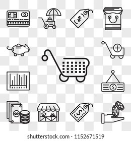 Set Of 13 transparent editable icons such as Cart, Get money, Price tag, Grocery, Change, Barcode, Folder, Piggy bank, web ui icon pack, transparency set