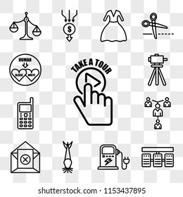 Set Of 13 transparent editable icons such as take a tour, server stack, ev charging, catfish, unsubscribe, mentorship, handphone, surveyor, interracial, web ui icon pack, transparency set