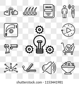Set Of 13 transparent editable icons such as proactive, hummus, noise uction, bear trap, cross channel, bought, broken gun, downtime, dimmer, web ui icon pack, transparency set