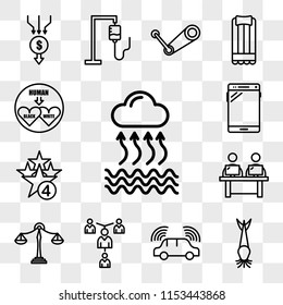 Set Of 13 transparent editable icons such as evaporation, catfish, autonomous driving, mentorship, benchmarking, coworking space, cod, , interracial, web ui icon pack, transparency set
