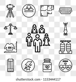 Set Of 13 transparent editable icons such as, interracial, peanut butter, flash running, air mattress, silos, size chart, catfish, benchmarking, web ui icon pack, transparency set