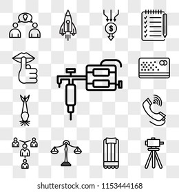 Set Of 13 transparent editable icons such as tattoo gun, surveyor, air mattress, benchmarking, mentorship, tele, catfish, punch card, hush, web ui icon pack, transparency set