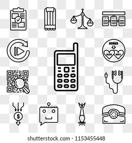 Set Of 13 transparent editable icons such as handphone, phone, catfish, chat bot, aggregator, earbud, qr scanner, interracial, replay, web ui icon pack, transparency set