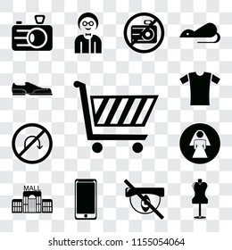 Set Of 13 transparent editable icons such as Shopping cart, Mannequin, Hidden, Smarthphone, Mall, Restroom, No turn, Shirt, Shoes, web ui icon pack, transparency set