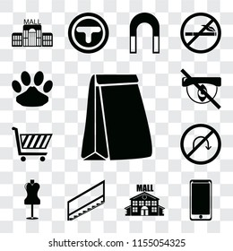 Set Of 13 transparent editable icons such as Paper bag, Smarthphone, Mall, Stairs, Mannequin, No turn, Shopping cart, Hidden, Pet, web ui icon pack, transparency set