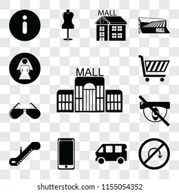 Set Of 13 transparent editable icons such as Mall, No turn, Bus, Smarthphone, Escalator, Hidden, Glasses, Shopping cart, Restroom, web ui icon pack, transparency set