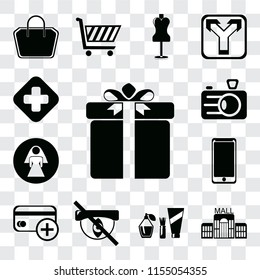 Set Of 13 transparent editable icons such as Gift, Mall, Cosmetics, Hidden, Cit card, Smarthphone, Restroom, Camera, Hospital, web ui icon pack, transparency set