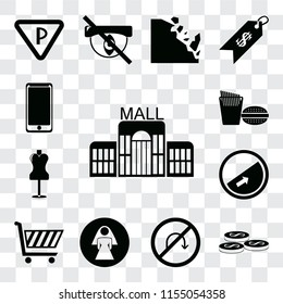 Set Of 13 transparent editable icons such as Mall, Coins, No turn, Restroom, Shopping cart, Slope, Mannequin, Fast food, Smarthphone, web ui icon pack, transparency set