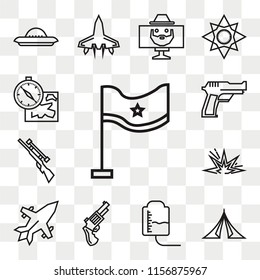 Set Of 13 transparent editable icons such as Flag, Tent, Blood transfusion, Pistol, Jet, Explosive, Rifle, Gun, Map and compass orientation tools, web ui icon pack, transparency set