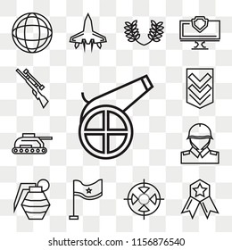 Set Of 13 transparent editable icons such as Cannon, Medal, Target, Flag, Grenade, Soldiers and a weapon, Tank, Chevron, Rifle, web ui icon pack, transparency set
