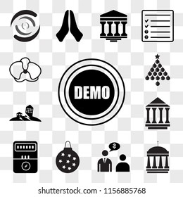 Set Of 13 transparent editable icons such as demo, municipal, advisor, christmas bulb, electric meter, municipality, earthquake, orchid, web ui icon pack, transparency set