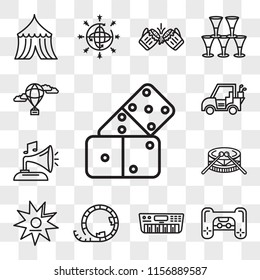 Set Of 13 transparent editable icons such as Domino, Playstation, Synthesizer, Roller coaster, Walk of fame, Drums, Gramphone, Golf car, Hot air balloon, web ui icon pack, transparency set