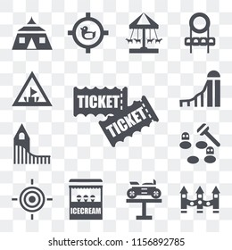 Set Of 13 transparent editable icons such as Tickets, Ride, Bike, Ice cream, Target, Whack a mole, Roller coaster, Slide, Amusement park, web ui icon pack, transparency set