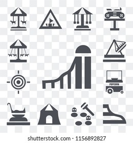 Set Of 13 transparent editable icons such as Slide, Swing, Whack a mole, Shooting, Amusement park, Popcorn, Target, Boat, Ride, web ui icon pack, transparency set