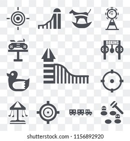 Set Of 13 transparent editable icons such as Slide, Whack a mole, Sports ball, Target, Swing, Childhood, Duck, Bike, web ui icon pack, transparency set
