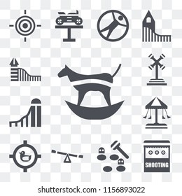 Set Of 13 transparent editable icons such as Ride, Shooting, Whack a mole, Childhood, Shoot duck, Swing, Slide, web ui icon pack, transparency set