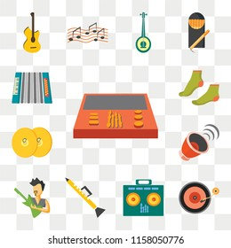 Set Of 13 transparent editable icons such as Workstation, Vinyl, Amplifier, Clarinet, Rocker, Cymbals, Steps, Accordion, web ui icon pack, transparency set