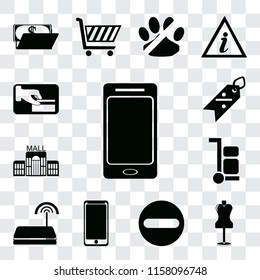 Set Of 13 transparent editable icons such as Smartphone, Mannequin, Forbidden, Smarthphone, Wifi, Trolley, Mall, Discount, Card payment, web ui icon pack, transparency set