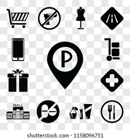 Set Of 13 transparent editable icons such as Parking, Restaurant, Cosmetics, No drugs, Mall, Hospital, Gift, Trolley, Smarthphone, web ui icon pack, transparency set