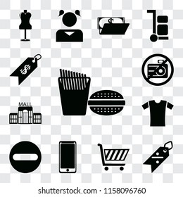 Set Of 13 transparent editable icons such as Fast food, Discount, Shopping cart, Smarthphone, Forbidden, Shirt, Mall, No camera, Price, web ui icon pack, transparency set