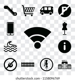 Set Of 13 transparent editable icons such as Wifi, Mall, Electricity, Train, No fire, Information, Wave, Mannequin, Smarthphone, web ui icon pack, transparency set