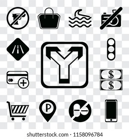 Set Of 13 transparent editable icons such as Junction, Smarthphone, No drugs, Parking, Shopping cart, Money, Cit card, Traffic light, Road, web ui icon pack, transparency set