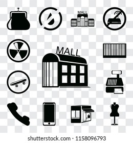 Set Of 13 transparent editable icons such as Mall, Mannequin, Store, Smarthphone, Telephone, Cashier machine, Skateboard, Barcode, Radiation, web ui icon pack, transparency set
