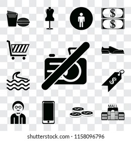 Set Of 13 transparent editable icons such as No camera, Mall, Coins, Smarthphone, Boy, Price, Wave, Shoes, Shopping cart, web ui icon pack, transparency set