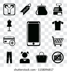 Set Of 13 transparent editable icons such as Smarthphone, No camera, Tote bag, Girl, Jeans, Shopping cart, Cit card, Shirt, Mannequin, web ui icon pack, transparency set