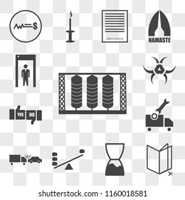 Set Of 13 transparent editable icons such as silo, chapter, expiration date, leverage, incident, vehicle inspection, yes no, quarantine, web ui icon pack, transparency set