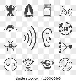 Set Of 13 transparent editable icons such as whisper, compliant, remittance, employee benefits, fixed price, third party, quarantine, virtual tour, mileage, web ui icon pack, transparency set