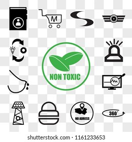 Set Of 13 transparent editable icons such as non toxic, 360 photo, no address, fire dept, lifeguard tower, proactive, lactation, omnichannel, web ui icon pack, transparency set