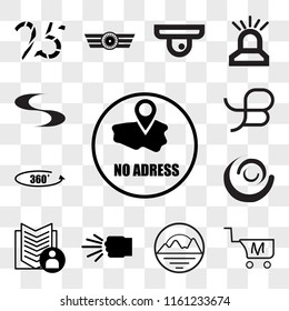 Set Of 13 transparent editable icons such as no address, shop cart m letter, pinnacle, fist bump, guestbook, swish, 360 photo, beta, web ui icon pack, transparency set