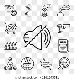 Set Of 13 transparent editable icons such as noise uction, click me, whats new, rmb, proactive, english subject, hair transplant, broken gun, bought, web ui icon pack, transparency set