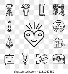 Set Of 13 transparent editable icons such as bliss, phone, loyal, aggregator, chat bot, home inspector, stellar lumens, interracial, catfish, web ui icon pack, transparency set