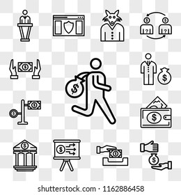 Set Of 13 transparent editable icons such as Steal, Corruption, Paying, Presentation, Banking, Money bag, Money, Bribe, web ui icon pack, transparency set