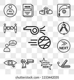 Set Of 13 transparent icons such as kickoff, bear trap, whats new, broken gun, our vision, what's next, no worries, turnkey, web ui editable icon pack, transparency set