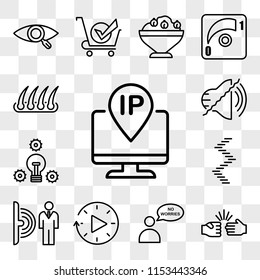 Set Of 13 transparent icons such as ip address, rock paper scissors, no worries, downtime, motion sensor, spiral staircase, proactive, noise uction, web ui editable icon pack, transparency set