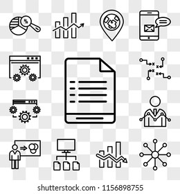Set Of 13 transparent icons such as User warning, Balancing data, Data analytics descendant, flow, Person explaining Analyser, web ui editable icon pack, transparency