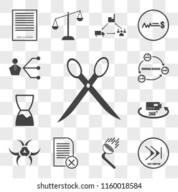 Set Of 13 transparent icons such as eliminate, chapter, pressure washing, paperless, quarantine, virtual tour, expiration date, chronic disease, web ui editable icon pack, transparency set